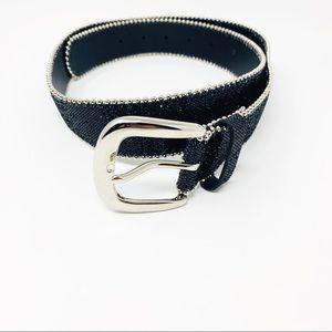 Hot Topic sz 36 Black Glitter & Silver Stud Belt